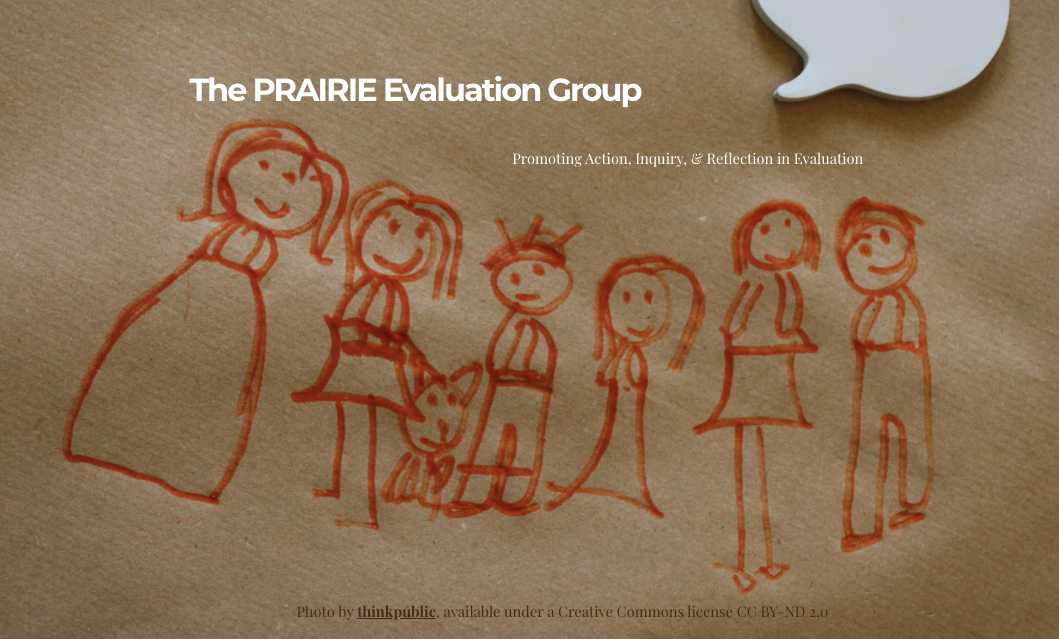 PRAIRE Group homepage showing a child's drawing of people in red crayon on brown paper.