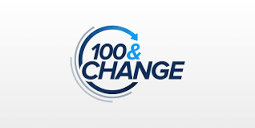 100&Change logo showing the competition name in blue letters with a swirling arrow behind it