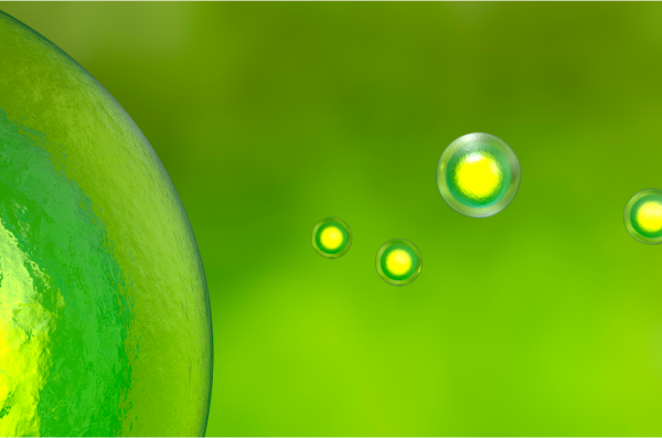 atoms on green background
