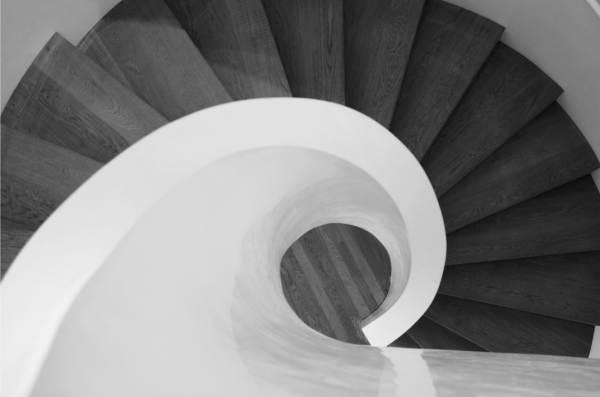 winding staircase black and white