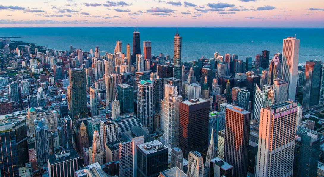Chicago skyline with Lake Michigan in background